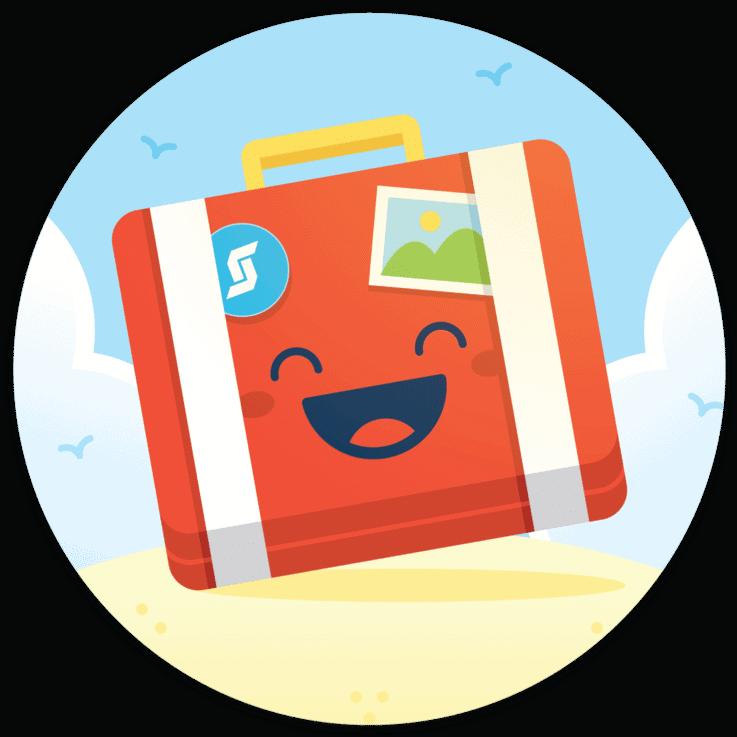 Happy suitcase stickers