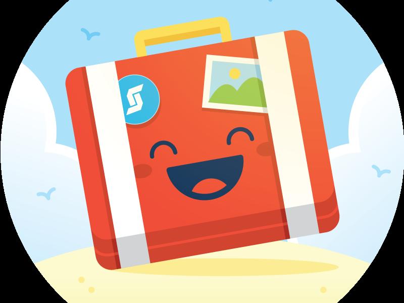 Happy suitcase sticker