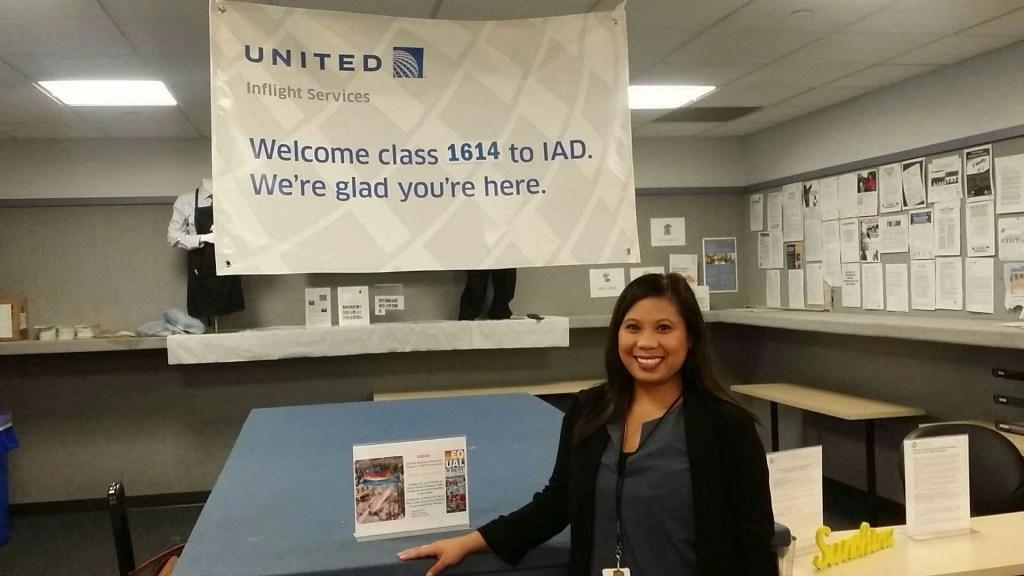A picture of Dianne at her first flight crew base at Dulles Airport in Virginia.