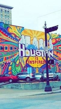 A mural in Houston with the cities name.