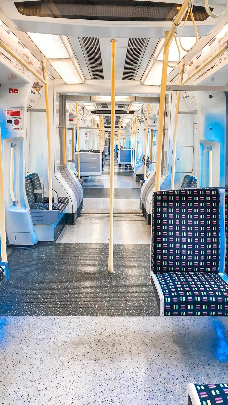 A picture of the seating on the Tube in London