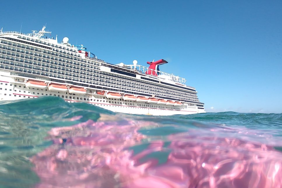 A shot of a cruise ship from the water in Turks and Caicos.
