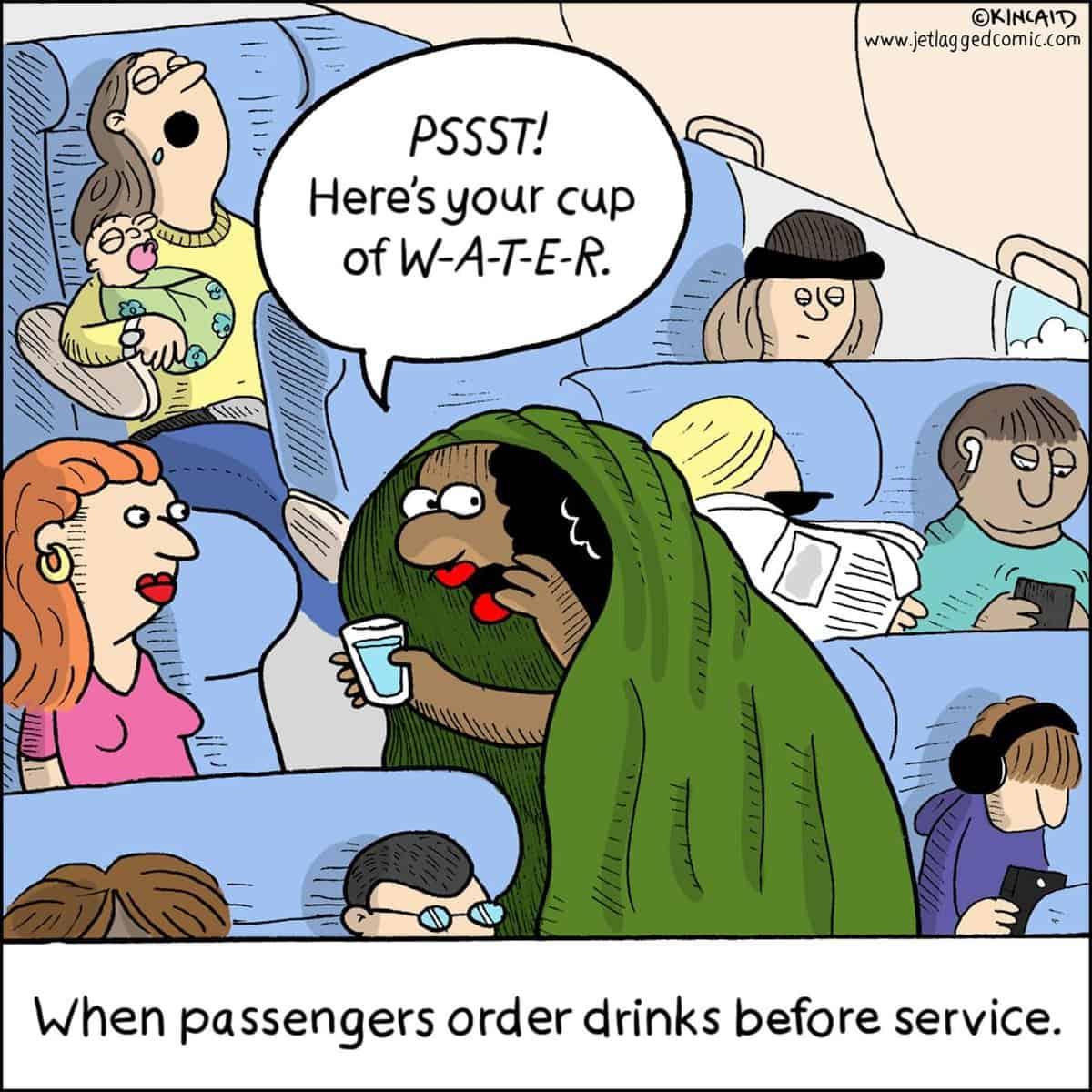 Comic flight attendant